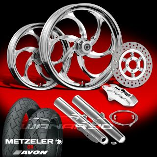 "Reactor Chrome 21"" Wheels Tires Single Disk Kit for 2009 13 Harley Touring"