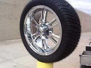 Golf Cart Wheel and Tire Combo 14 inch Chrome New Wheels Sharp ITP Chrome Set 4