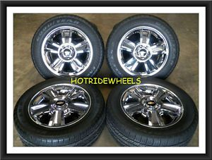 "20"" Chevy Silverado Tahoe Chrome Clad Wheels with Tires 275 55 20 115C"