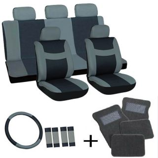 20pc Set Black Auto Car Seat Covers Wheel Belt Pad Head Rest Gray Floor Mat