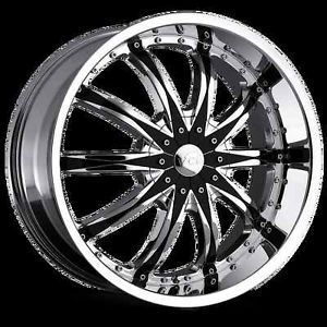 "20"" 22"" 24"" 26"" VCT Abruzzi Chrome Black Wheels Chevy Ford Dodge GMC Rims"