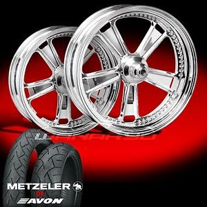 "Judge Chrome 21"" Front Rear Wheels Tires for 2009 13 Harley Bagger"