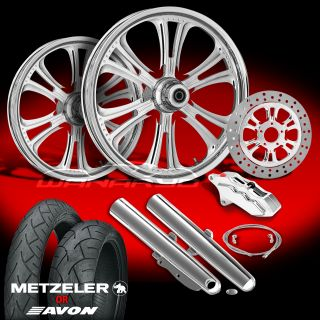 "Czar Chrome 21"" Wheels Tires Single Disk Kit for 2000 08 Harley Touring"