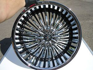 "22"" Shooz 011 Chrome Black Wheels Rims 4 Lug 4x100 4x108 4x4 25 4x114 3 4x4 5"