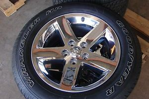 "4 20"" Dodge RAM 1500 5 Spoke Chrome Factory Wheels Rims Tires"