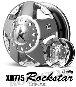 17 inch 17x6 KMC XD Rockstar Chrome Dually Wheels 8x200