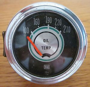 Vintage SW Stewart Warner Green Line Oil Temp Gauge 12 V 813710 Rat Rod Auto
