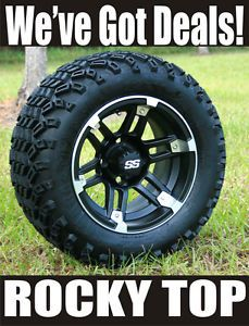 "New 12x7 Barracuda Golf Cart Wheels and 22"" Sahara Classic All Terrain Tires"