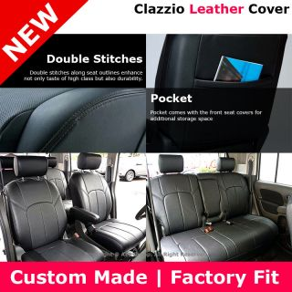 Clazzio Custom Fit Leather Seat Cover Black 09 12 Nissan Cube 1 8 s SL Krom
