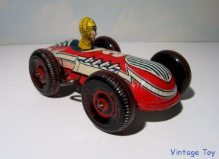 "Vintage Marx 3 Racer Tin Race Car Balloon Tire Version 6"" Windup Toy"