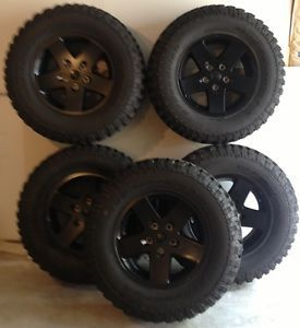 "Jeep Wrangler Wheels and Tires 17"" Rubicon 255 75 17 BF Goodrich"