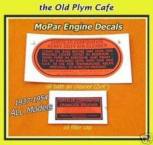1940's Chrysler Plymouth DeSoto Dodge Truck New Engine Decals Set 1950'S