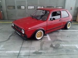 1 18 Scale VW VOLKSWAGEN GOLF MK1 GTI RED WITH BBS E30 WHEELS LIMITED