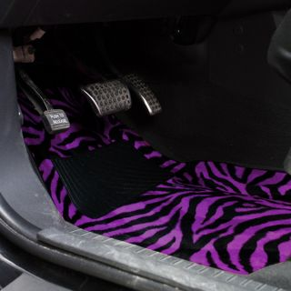 8PC Set Purple Zebra Print Bucket Car Seat Covers Floor Mats License Plate Frame