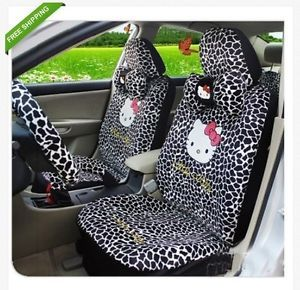 Hello Kitty Car Seat Cover Leopard Car Cushion Neckrest Rearview Seat COVER18PC