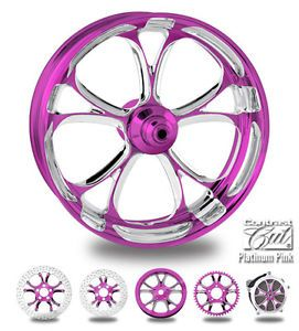 "Custom Color Rims 21"" Wheel Package for Harley Pink Platinum"