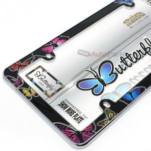 Butterfly Plastic Chrome License Plate Tag Frame for Auto Car Truck