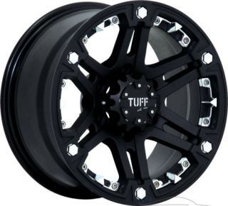16x8 Tuff T01 6x139 7 6x5 5 20mm Matte Black Chrome Rims Wheels inch 16""