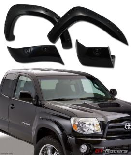 "Blk Pocket Style Front Rear Fender Flare Kit Wheel Cover 05 11 Tacoma 6"" ft Bed"