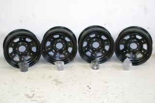 4 Black Rock Lobo Wheels 16x7 5x5 Jeep JK Wrangler