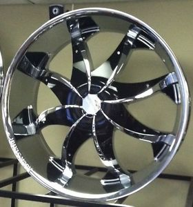 "20"" Chrome Wheels Rims Tires Pkg Black Inserts Rocknstarr 608 FWD 5x110"