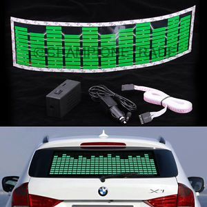 Green Car Music Rhythm LED Flash Light Sticker Sound Activated Equalizer Decor