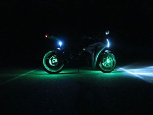 1 Green LED Motorcycle Wheel Lighting Custom Glow Pod Accent Bike Lite Sport R1