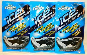 Turtle Wax Ice Total Interior Car Care Plastic Vinyl Leather 2FL oz Packet X3