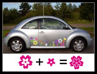 48 Mix Colour Wild Flower Shape Vinyl Car Vehicle Wall Graphic Stickers Decals