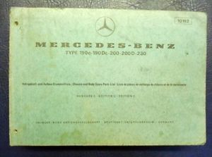 Mercedes Benz Type 190C 190DC 200 200D 230 Illustrated Spare Parts List 10192