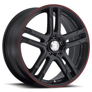 18 inch 18x7 5 Katana KR10 Black Red Stripe Wheels Rims 5x4 5 Town Car Mazda 3 5