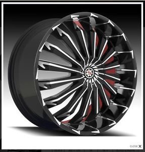 "26"" Scarlet SW6 Black Red Wheels Rims Tires Fit Chevy Cadillac GMC Ford Lincoln"