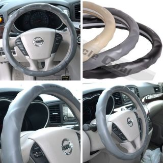 "52002 14"" 15"" 38cm Steering Wheel Cover Grey Leather Fiat BMW Audi SUV Car New"