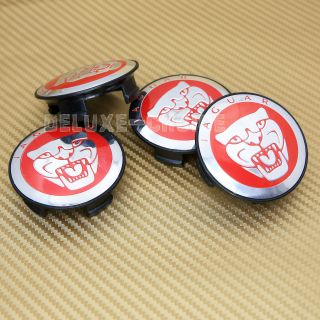 4 Pcs Jaguar Red Alloy Wheel Center Logo Hub Caps 58mm XJ XJR XJ6 XF x F Type