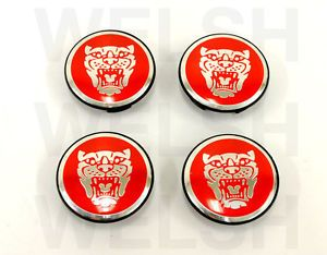 Jaguar Wheel Badge Set Center Cap Wheel Motif 1988 2012 Red