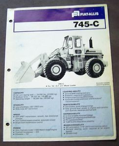 Fiat Allis 745 C Wheel Loader Spec Sheet Brochure