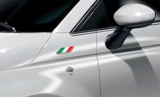Fiat 500 Italian Flag Wing Panel Badges Emblem Stickers Decals Pair