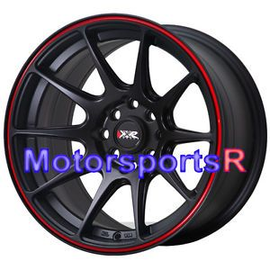 16 16x8 XXR 527 Black Red Stripe Concave Rims Wheels Stance 4x100 90 Mazda Miata