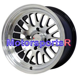 15 15x8 XXR 531 Machine Black Et 0 Wheels Rims 4 Lugs Nissan 240sx s13 Step Lip