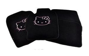 04 08 Scion TC Hello Kitty Black Custom Fit Heavy Nylon Floor Mats Carpets