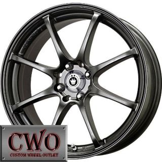 17 Black Konig Feather Wheels Rims 5x100 5 Lug WRX Impreza Subaru XD Jetta TC VW