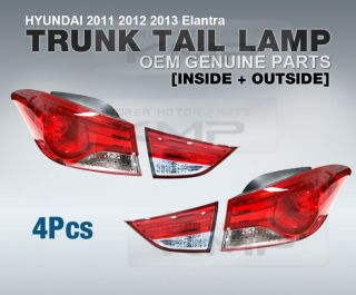 Genuine Parts Trunk Rear Tail Lamp Set 4pcs Fit Hyundai 2011 2013 Elantra MD
