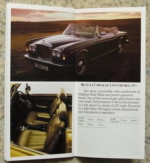 Rolls Royce Bentley Car Range Publicity Brochure 1962 to 84 Silver Spur T2