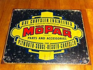 Vintage Auto Truck Mopar Plymouth Dodge DeSoto Chrysler Parts Tin Sign Classic