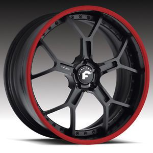 "19x8 5 20x13"" Forgiato GTR Black Red Lip Stick Wheels Lamborghini Murcielago"
