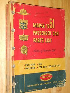 1951 Chrysler Plymouth Dodge DeSoto Mopar Parts Catalog Original Mopar Book