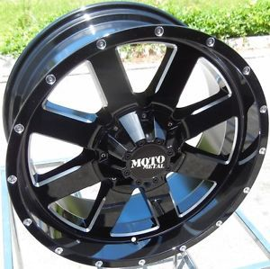 "20x9"" Moto Metal MO962 Black Wheels Rims Chevy GMC Dodge Ford 2500 3500 HD 8x6 5"