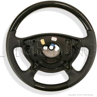 Mercedes Benz E Class W211 W463 Birdseye Maple Wood Black Leather Steering Wheel