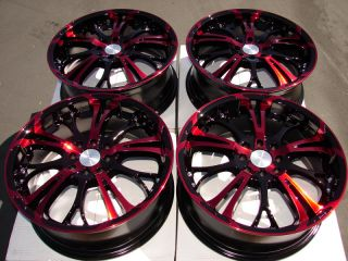 "17"" Red Effect Wheels Rims 4 Lug Integra Cobalt Escort Accord Civic Insight Fit"