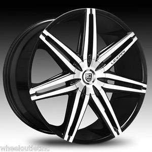 "26"" Lexani Wheels Johnson II Black Rims Escalade Navigator Range Rover 24 22 28"